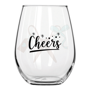 21oz stemless wineglass with black premium, permanent, vinyl application. Text - cheers in script with starbursts..