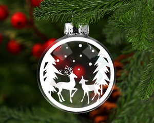 Deer Snow Scene Round Floating Glass Ornament