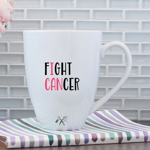 17oz white porcelain mug with black, permanent, premium vinyl applied. Text - Fight Cancer (I CAN in pink)
