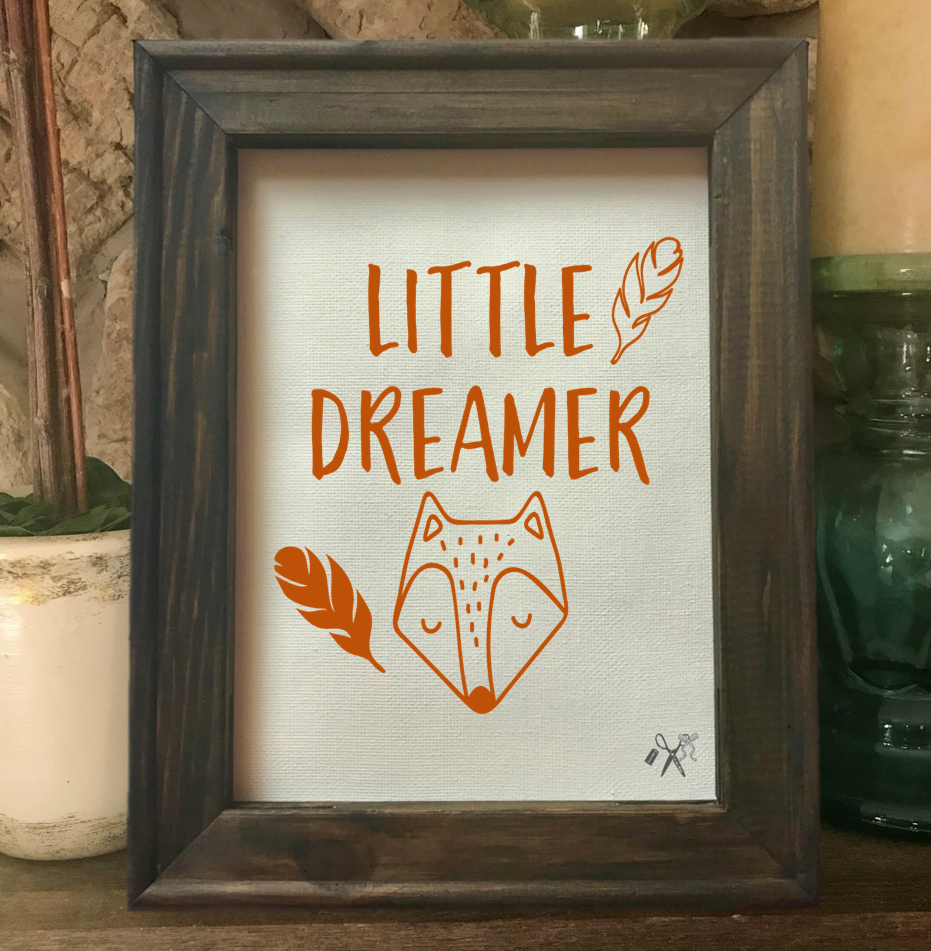 Little Dreamer Fox Framed Canvas