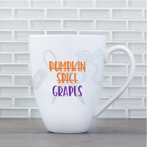17oz white porcelain mug with text in orange that is crossed off reading Pumpkin Spice. Below is purple text - Grapes.