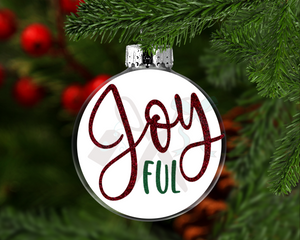 Joyful Round Floating Glass Ornament