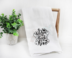 Cotton white towel with script text The Kitchen is the Heart of the Home with hearts in black