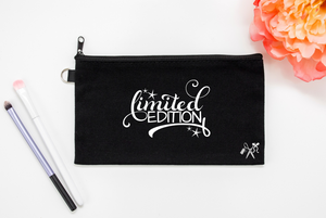 5x8 black cotton makeup bag. White text - limited edition