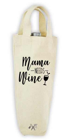Cotton/poly canvas wine bottle tote with webbed handles. Heat transfer black vinyl professionally applied. Text - Mama needs wine.
