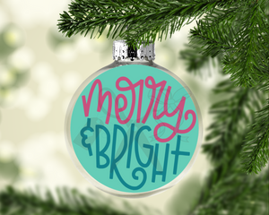 Merry & Bright Round Floating Glass Ornament