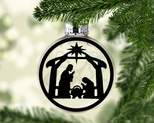 Nativity Scene Round Floating Glass Ornament