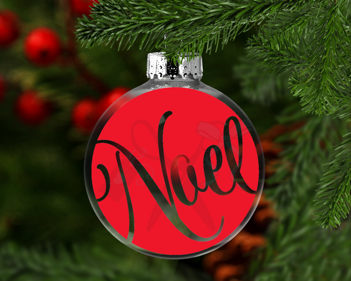 Noel Round Floating Glass Ornament