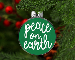 Peace on Earth Round Floating Glass Ornament