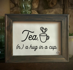 Tea a Hug in a Mug Framed Canvas