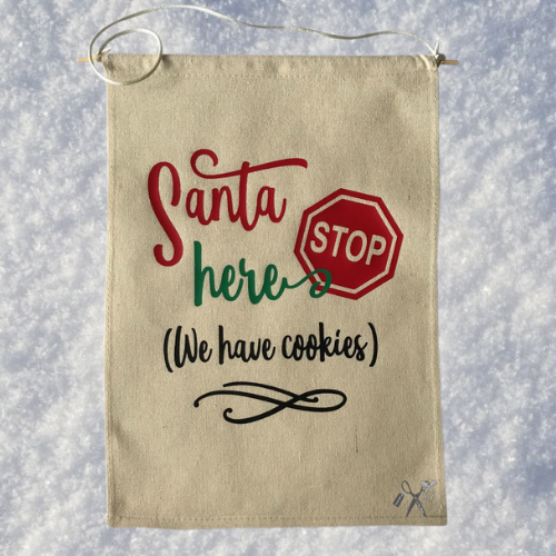 Santa Stop Here Canvas Banner