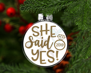 She Said Yes Round Floating Glass Ornament