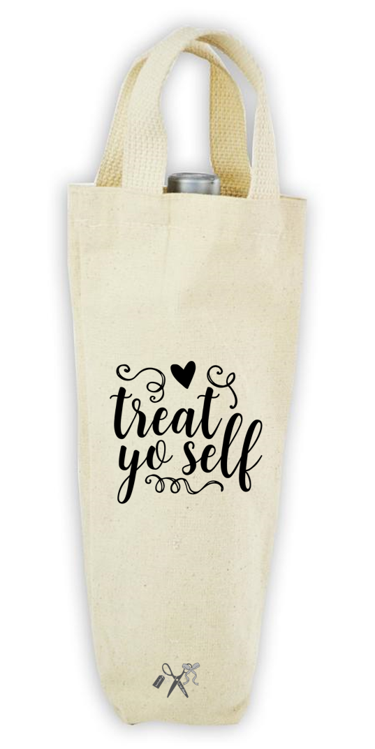 Cotton/poly canvas wine bottle tote with webbed handles. Heat transfer black vinyl professionally applied. Text - Treat yoself with swirl motif.