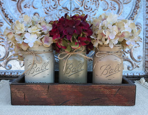 MASON Jar Decor Table Centerpiece Wood TRAY + 3 Ball Pint Jars Distressed (Flowers optional) - Wooden Hearts Inc