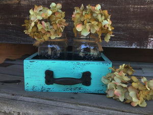 MASON Jar Centerpiece DRAWER Wood Box Ball Canning 2 Jars Handle Blue White Red Teal - Wooden Hearts Inc