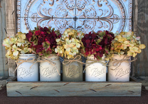 MASON Jar Decor Centerpiece Large Tray + 5 Pint Jars (Flowers optional) Table Decor - Wooden Hearts Inc
