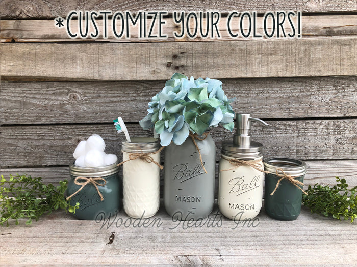 6 piece MASON Jar Bathroom Decor SET, Soap Pump Makeup Toothbrush Cotton Holder Flower