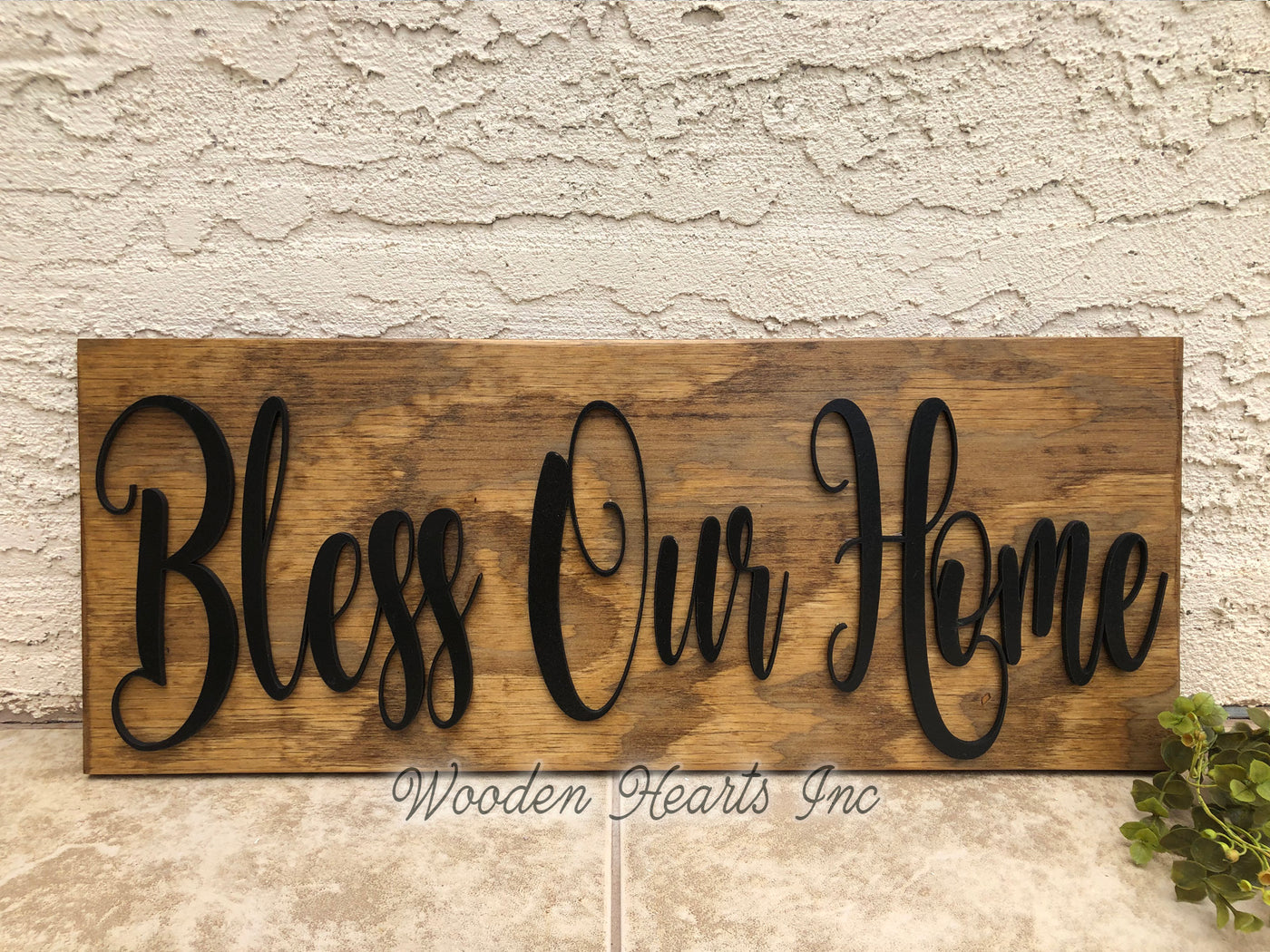 Bless Our Home 3d Wood Horizontal Wall Home Sign 9x24 Inspirational Wooden Hearts Inc