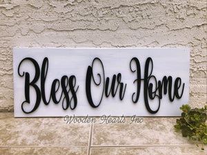 Bless Our Home 3D Wood Horizontal Wall Home Sign 9x24 Inspirational - Wooden Hearts Inc