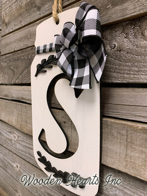 Mason Jar Letter with Bow Kitchen Wall Decor Sign Last Name Family Wood Monogram Gift - Wooden Hearts Inc