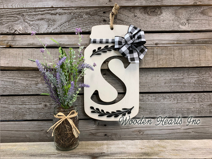 Mason Jar Letter with Bow Kitchen Wall Decor Sign Last Name Family Wood Monogram Gift