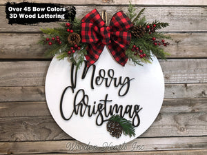 "Merry Christmas Door Hanger Happy Holidays, Seasons Greetings, Wreath Custom 16"" Round Sign - Wooden Hearts Inc"