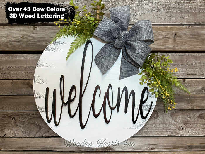 "WELCOME Sign Front Door Hanger 16"" Round Wood Wreath Bow Everyday Sign Spring Easter"