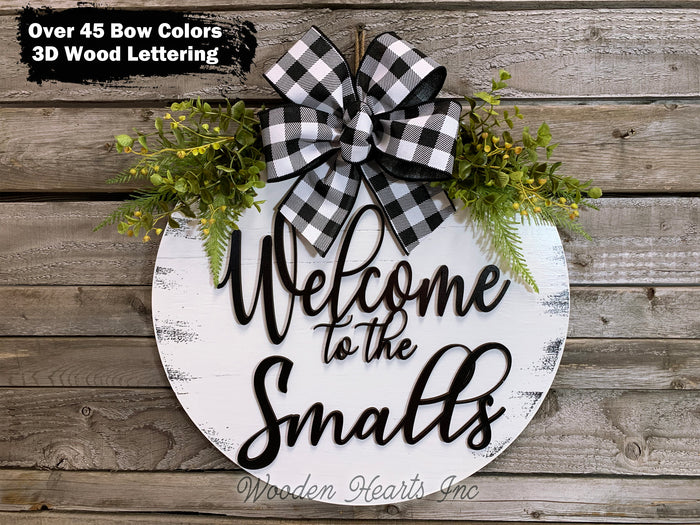 "Personalized Door Hanger Welcome Wreath Custom Last Name 16"" Round Sign Spring"