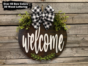 "WELCOME with leaf embellishment Door Hanger Welcome Wreath Custom 16"" Round Sign Spring - Wooden Hearts Inc"