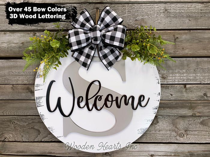 "WELCOME + Monogram Letter 16"" Round Letter Sign, Custom, Personalize, Door Sign"