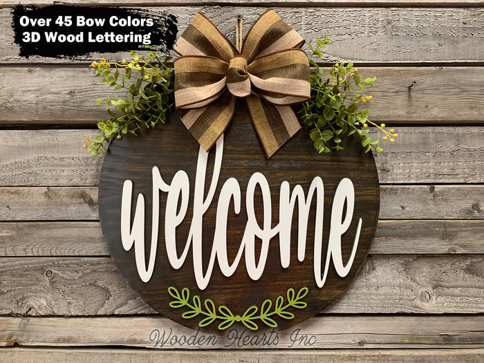 "WELCOME with leaf embellishment Door Hanger Welcome Wreath Custom 16"" Round Sign Spring"
