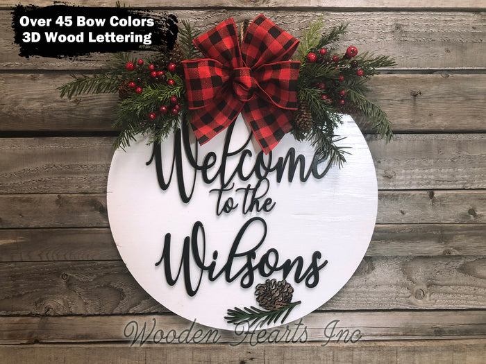 "Personalized Christmas Door Hanger Happy Holidays, Wreath Custom Last Name 16"" Round Sign"