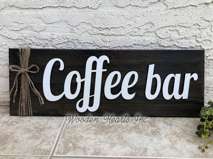 COFFEE BAR Home 3D Wood Horizontal Wall Sign With Jute Rope 7x20 White Gray Black