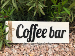 COFFEE BAR Home 3D Wood Horizontal Wall Sign With Jute Rope 7x20 White Gray Black - Wooden Hearts Inc