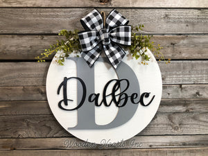 "Monogram Last Name 16"" Round Letter Sign, Custom, Personalize Name, Door Sign - Wooden Hearts Inc"