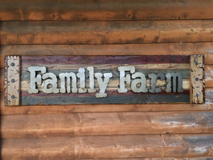 FAMILY FARM Farmhouse Decor Wall Rustic Sign Shutter Distressed Industrial Farmer - Wooden Hearts Inc