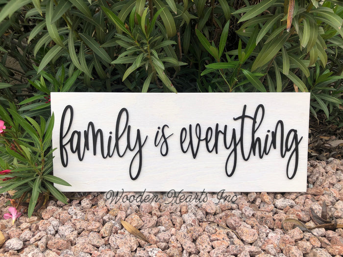 Family is Everything 3D Wood Horizontal Wall Home Sign 9x24 White Gray