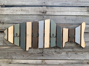 COAT RACK FISH Wood Towel, 4 metal hooks Lake Home Wall Cabin Distressed Blue Fisherman - Wooden Hearts Inc