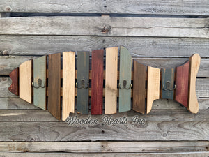 COAT RACK FISH Wood Towel, 4 metal hooks Lake Home Wall Cabin Distressed Red Fisherman - Wooden Hearts Inc