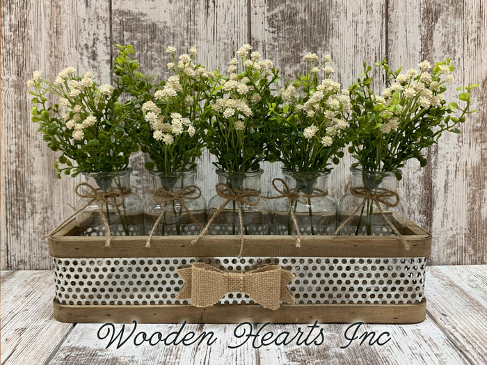 Centerpiece for Table *Farmhouse Tray with BURLAP BOW 5 glass bottle jars (Optional Greenery)