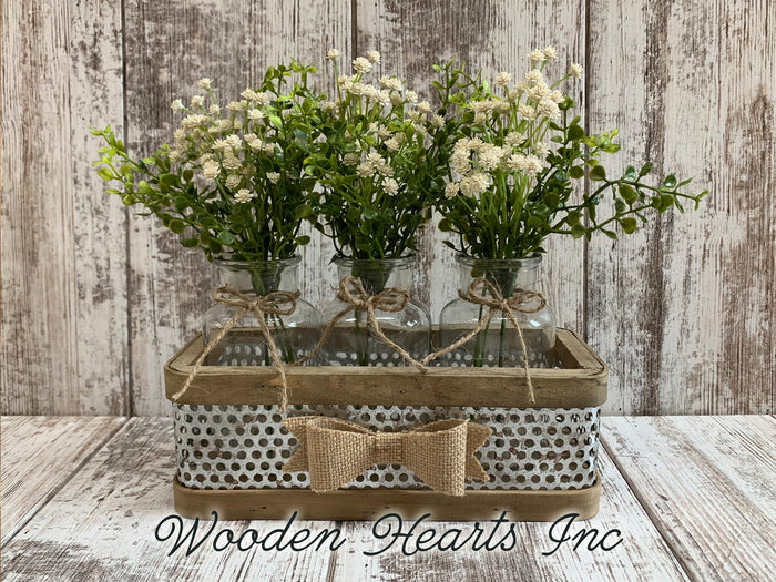 Centerpiece for Table *Farmhouse Tray with BURLAP BOW 3 glass bottle jars (Optional Greenery)