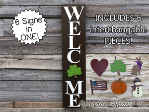WELCOME SIGN + 6 interchangeable SEASON CHANGER PIECES! Heart Bunny Flag Pumpkin Snowman Clover - Wooden Hearts Inc
