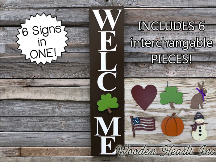 WELCOME SIGN + 6 interchangeable SEASON CHANGER PIECES! Heart Bunny Flag Pumpkin Snowman Clover
