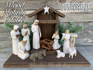 STABLE WOODEN Creche *Nativity Christmas Decor  ***BROWN*** - Wooden Hearts Inc