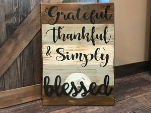 Grateful Thankful & Simply Blessed SIGN Wood Wall Decor, Living Room 16X24 - Wooden Hearts Inc