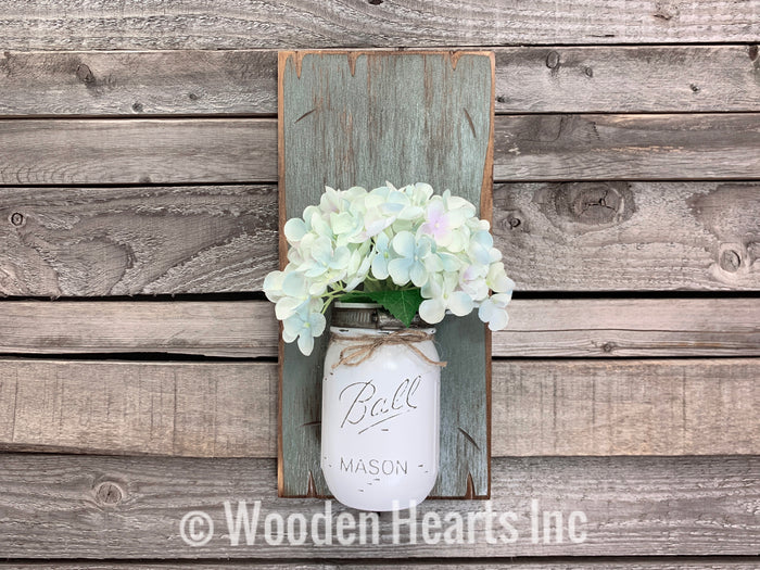 Mason JAR Wall SCONCE with Flower (optional) - Distressed Wood with painted Ball Pint Jar