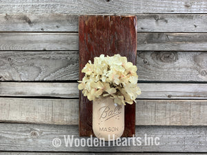 Mason JAR Wall SCONCE with Flower (optional) - Distressed Wood with painted Ball Pint Jar - Wooden Hearts Inc