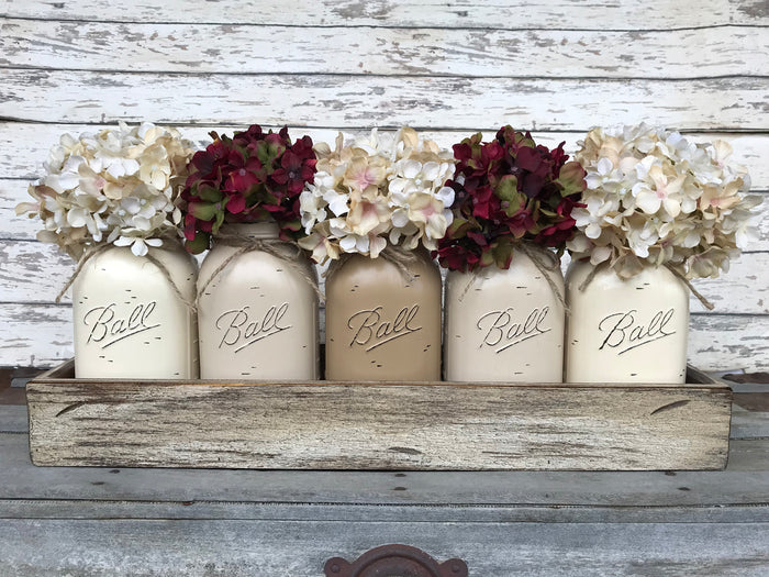 MASON Jar Centerpiece Wood TRAY + 5 Mason QUART Jars (Flowers optional) Table Decor