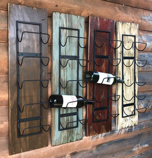 WINE RACK Wall Wood 5 Bottle Holder with Metal Distressed Bar Bath Towels Rustic Red White Brown - Wooden Hearts Inc