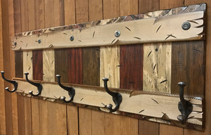 "COAT Rack Wall 5 Hook Rustic Distressed Sturdy Wood Entryway Bathroom Office 44"" - Wooden Hearts Inc"